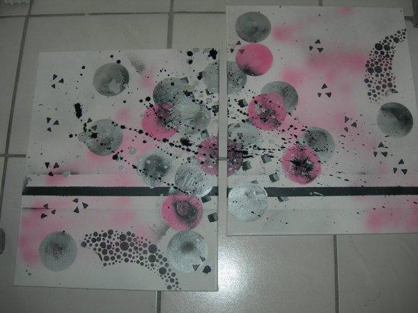 Tableau abstrait rose argent gris fonc dimensions - Tableau rose et gris ...