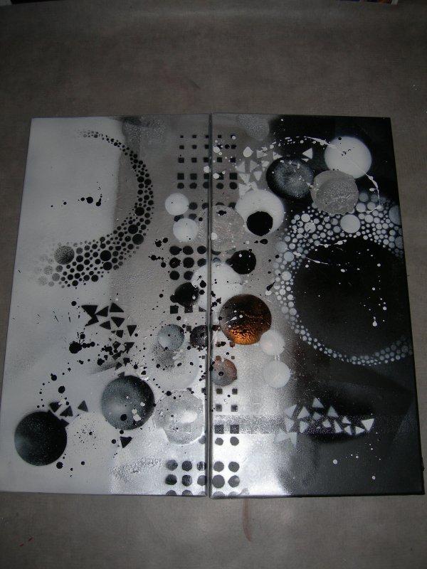 Tableau abstrait noir blanc gris dimensions 2x30x60cm for Tableau portrait noir et blanc