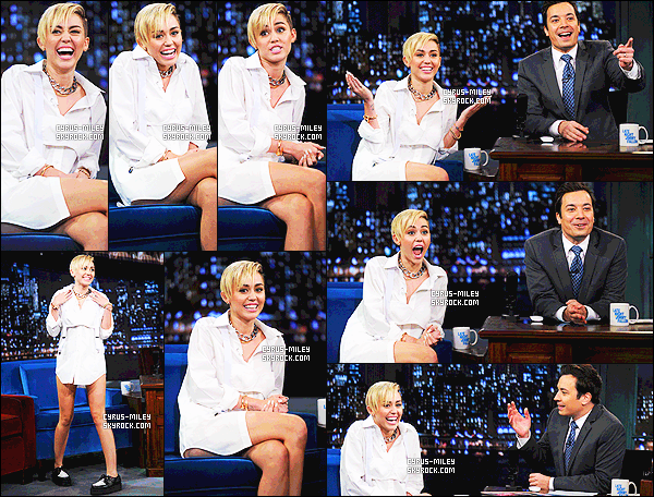 08/10/13 - M. Cyrus �tait invit�e au � Jimmy Fallon Show �, puis a perform� en petite tenue � Wrecking Ball �.