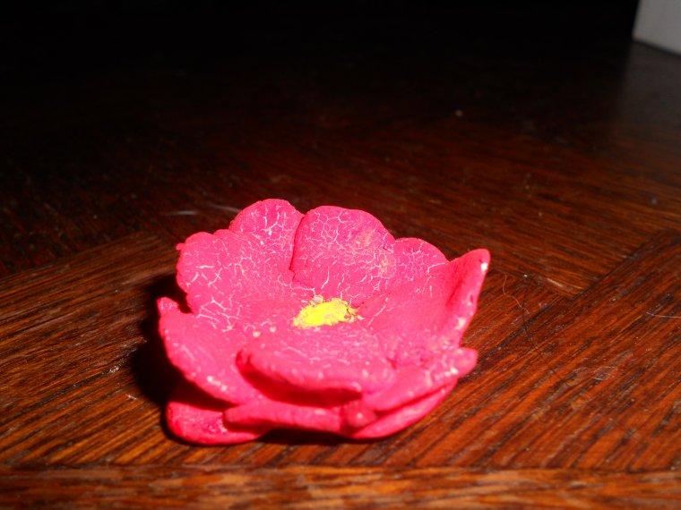 Petite fleur rouge en pate a sel azazelle creations - Que faire avec de la pate a sel ...