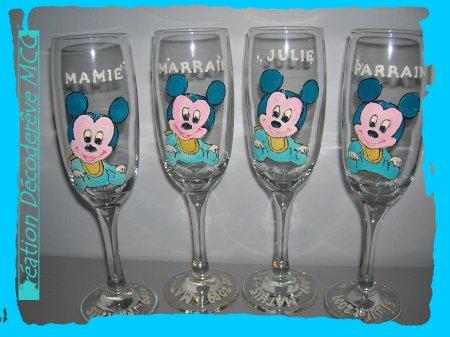 Serie de coupe a champagne special bapteme cadeau pour bapteme parrain marraine - Decoration bapteme theme mickey ...