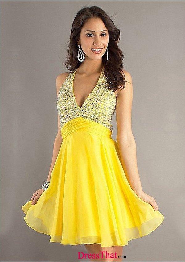 Yellow Short Cocktail Dresses 114