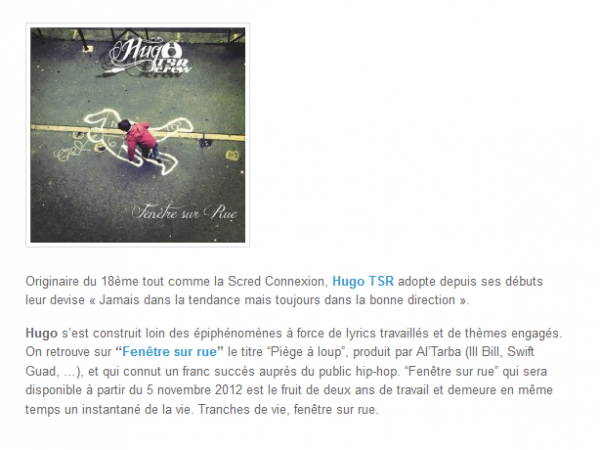 Fen tre sur rue le nouvel album solo de hugo tsr news for Hugo boss fenetre sur rue