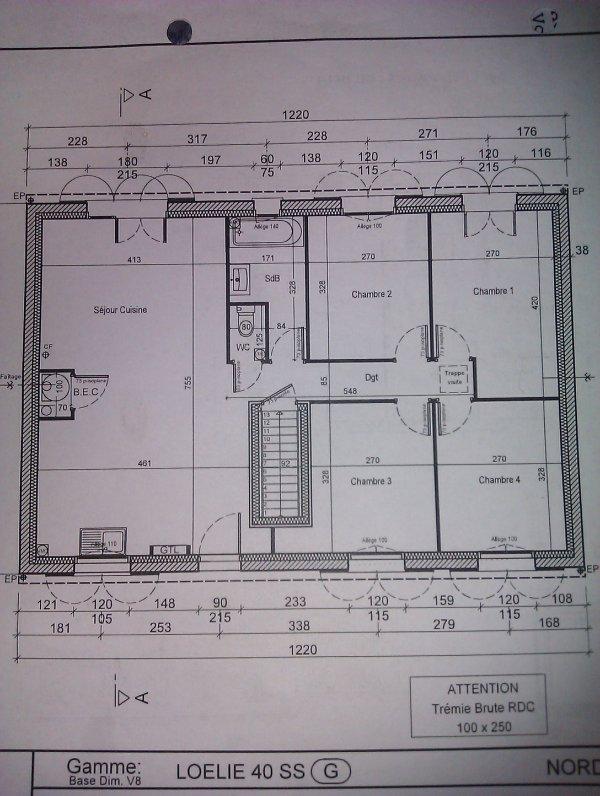 Le plan de la maison loelie 4 ss sur sous sol projet for Plan maison sous sol complet