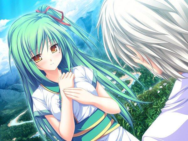 Fille anime avec des cheveux verts
