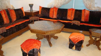 Salon Marocain Moderne Orange Marron ~ intérieur & meubles