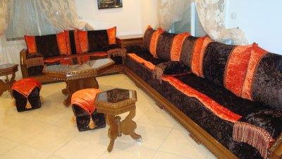 21 salon nekch tissu marron et orange mobra 100 oriental salon marocain moderne - Salon Marocain Moderne Orange Marron