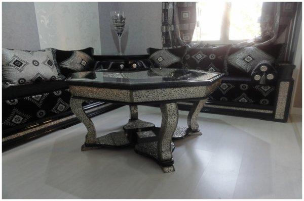 salon marocain biladi noir et m233tal cisel233 argent233 100