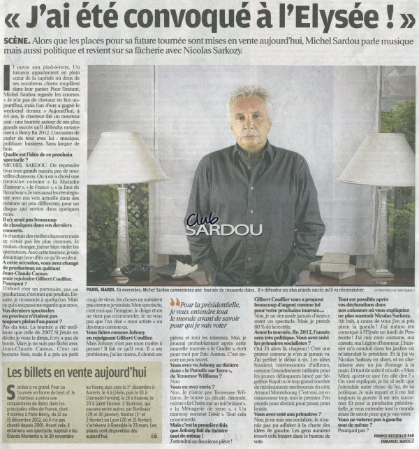 20 octobre 2011 - Article paru dans LE PARISIEN