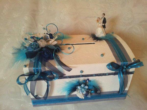 Urne de mariage blanc bleu marine turquoise la copie n for Deco bleu marine et blanc