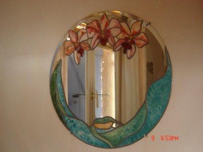 Miroir tiffany les orchid es blog de laprovencedesylvie for Faux vitrail sur miroir