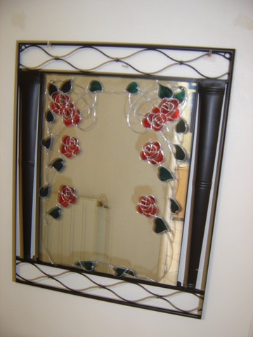 Miroir fer forg 100 aux roses blog de laprovencedesylvie for Faux vitrail sur miroir