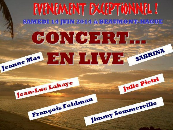 NEWS : Derni�re minute : EVENEMENT -  JEANNE MAS EN CONCERT  LE 14/06/2014  - � BEAUMONT-HAGUE (Basse-Normandie - 50)