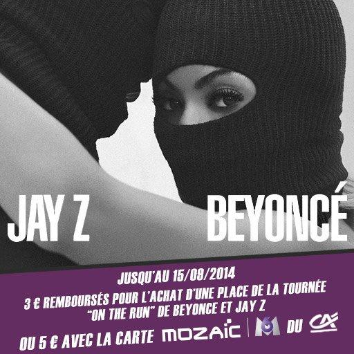 """Top ! Jusqu'� 5� en cashback sur les derni�res places du concert """"On the Run"""" de Beyonc� & JAY Z !"""