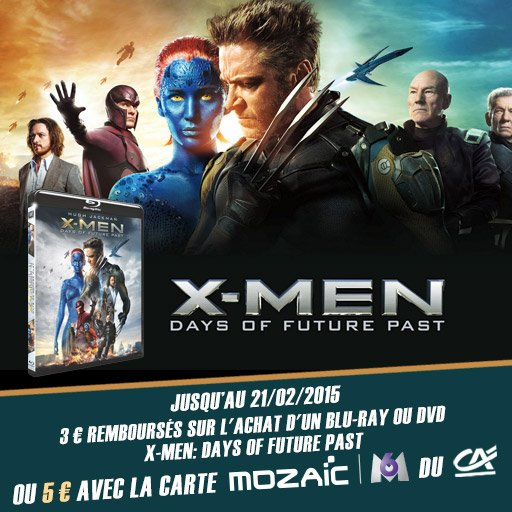 Jusqu'� 5� rembours�s sur le Blu-ray ou DVD du film X-Men: Days of Future Past