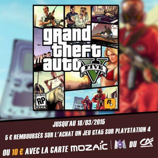 Jusqu'� 10� rembours�s sur GTA5 pour PS4 !