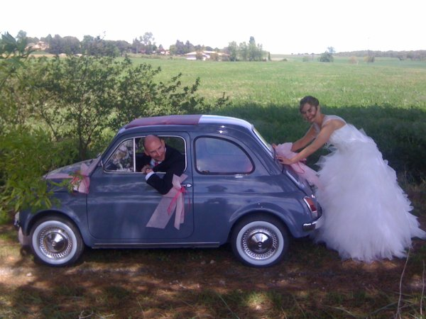 mariage en 5oo ancienne fiat 500 de cl flo toulouse. Black Bedroom Furniture Sets. Home Design Ideas