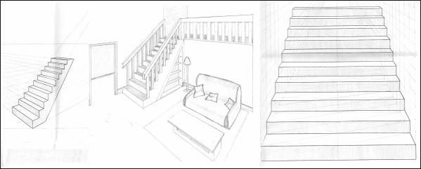 Perspective Escalier : Initiation au dessin de perspective devoir n° ° ஐ