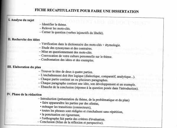dissertation de francais methodologie