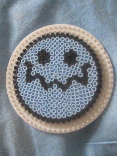 Smiley bleu en perles repasser perla a repasser - Smiley perle a repasser ...