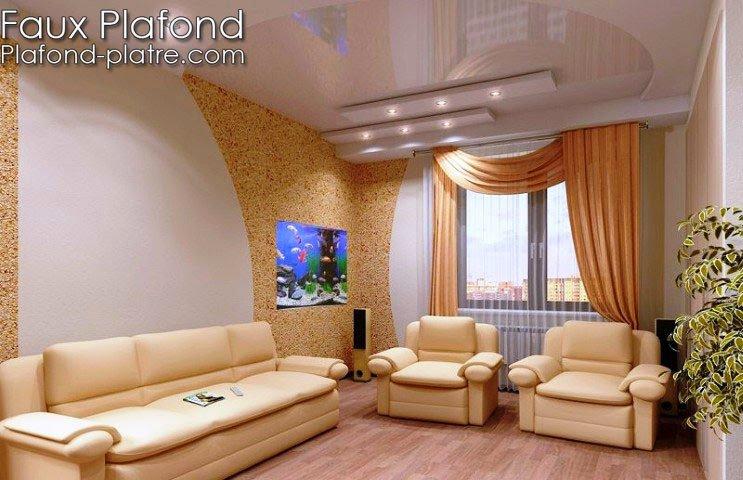 Plafond Platre Simple : Simple design pour haut plafond faux suspendu et