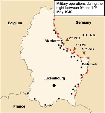 2) Fall Gelb l'invasion du Luxembourg le jeudi 9 mai 1940 � 04h35.