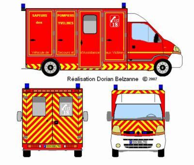Dessin d 39 un vsav v hicule de secours et d 39 assistance aux - Dessiner un camion de pompier ...