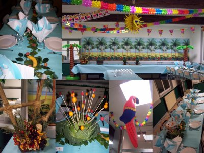 mes 40 ans soiree tropicale decoration de la salle vive