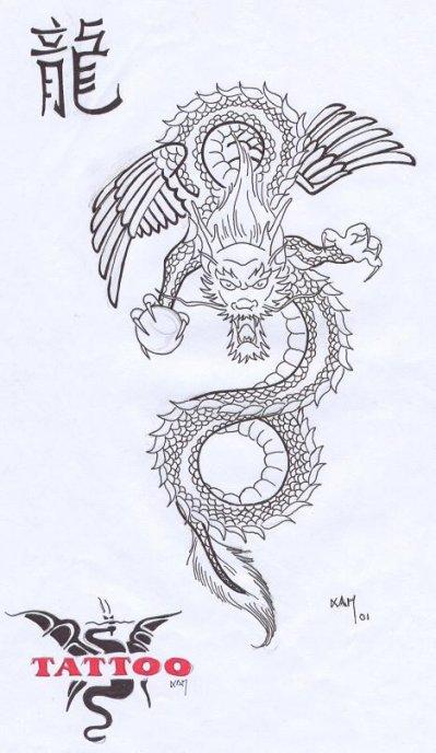 Dragon jap old school 01 k tacombe tattoo c - Dragon japonais dessin ...