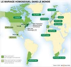Les pays qui autorisent les mariages homosexuels