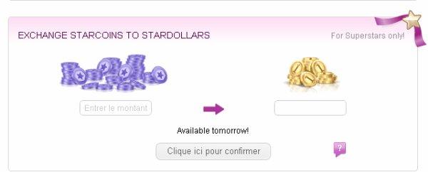 Echange tes starcoins contre des Stardollars d�s demain !