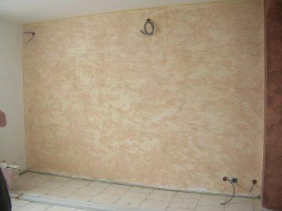la peinture sabl e sur le mur du salon ma petite vie. Black Bedroom Furniture Sets. Home Design Ideas