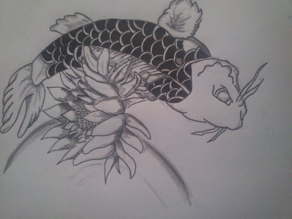 Carpe koi style tatoo sauce piquante art alexis et claire - Dessin carpe koi ...
