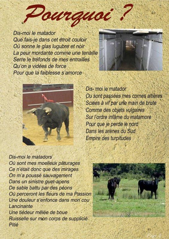 """Poème """"POURQUOI?"""" (anti corrida) de Irène Noel 3229474731_1_2_lw3WzxTy"""