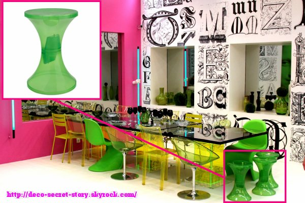 tabouret tam tam krystal vert deco secret story. Black Bedroom Furniture Sets. Home Design Ideas