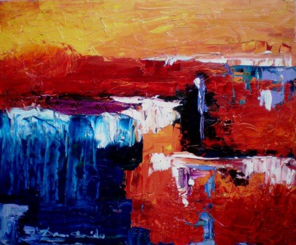 Peinture abstraite sur toile peinture l 39 huile au couteau 61x50 cm la - Peinture abstraite huile ...
