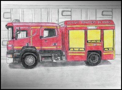 Dessin camion de pompier le monde de miss aurore - Dessiner un camion de pompier ...