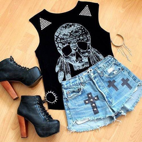 Tenue rock tete de mort et croix swag style too french for Style ricain
