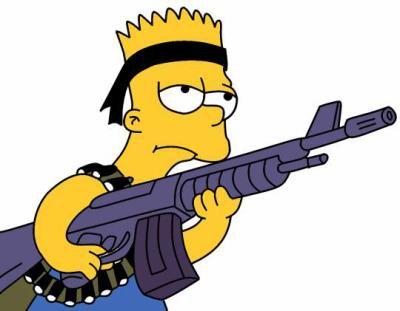Homer simpson et bart simpson avec un fusil chacun et marge lisa et maggie sans fusil eux the - Marge simpson et bart ...