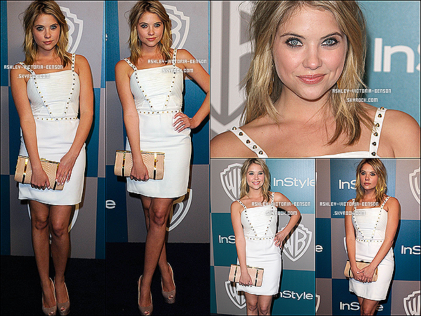 . 15/01/12 : Ashley B �tait au�13�me Annual Warner Bros And InStyle Golden Globe Awards After Party ! Ashley�arborait une belle �robe blanche, qui s'accorde bien avec son sourire !  Son sac est somptueux, j'attribue un tr�s fabuleux TOP. .