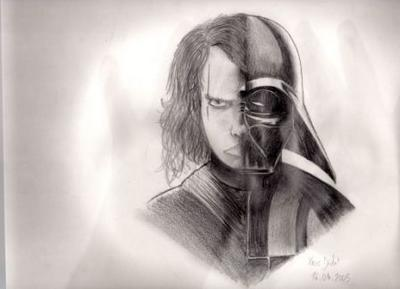 Anakin skywalker dark vador par xavier dessins et moi en folie - Visage de dark vador ...
