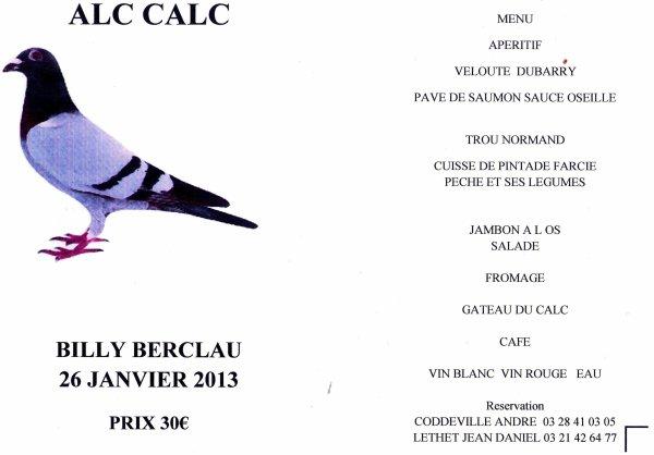 PROGRAMME DES ALC CALC 2013 ET MENU DU REPAS REMISE DES PRIX