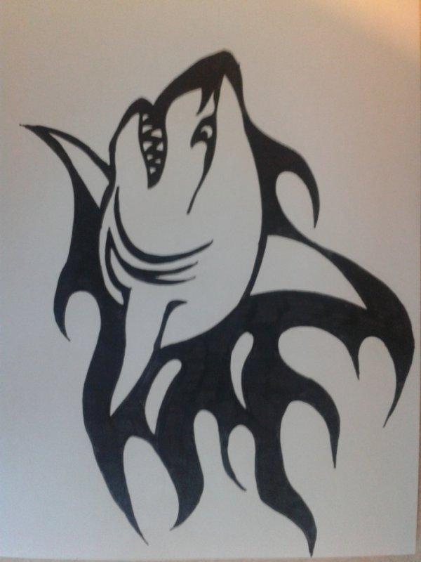 Requin tribal dessin - Dessin requin facile ...