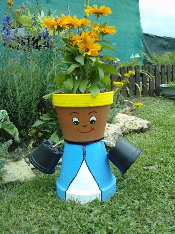 Un autre personnage en pot de fleur les bijoux de - Bonhomme en pot de fleur ...