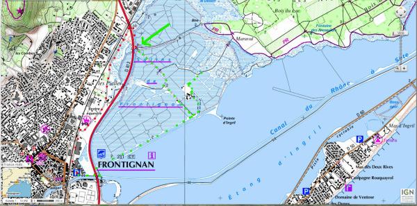 Carte du salin de frontignan vent du soir - Frontignan office du tourisme ...