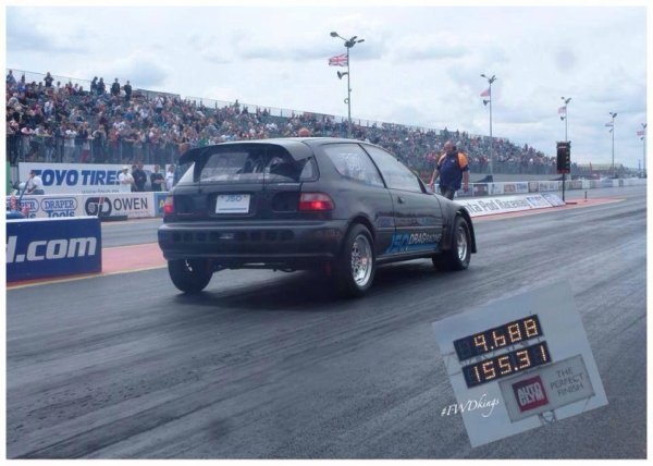 New record Civic turbo JSo===>  9,68sc/250km/h au 400M de Santa pod!!!