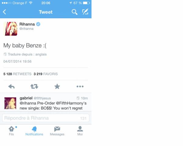 Rihanna a tweet� sa tristesse pour Benzema ! #SkyrockDieseFoot