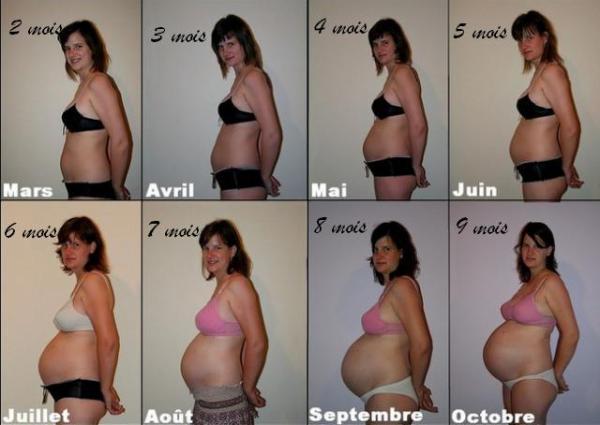 Femme enceinte 1 mois nu