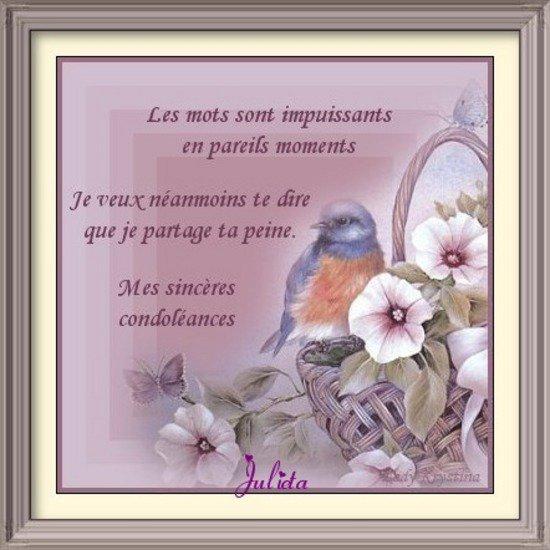 UNE PENSEE POUR MON AMIE FRANCINE QUI VIENT DE PERDRE SON MARI TOUTES MES CONDOLEANCES AVEC ...