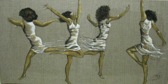 4 danseuses sur toile de lin peinture a l huile de marie c d. Black Bedroom Furniture Sets. Home Design Ideas
